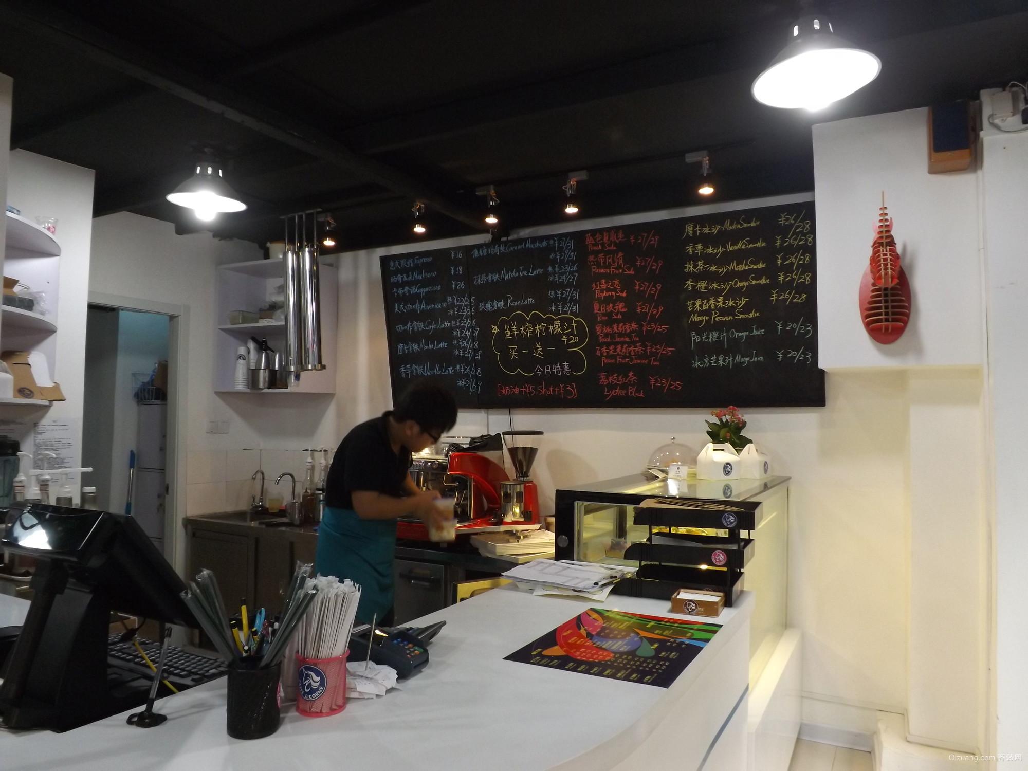 CAFFE面包店装修现代简约装修效果图实景图
