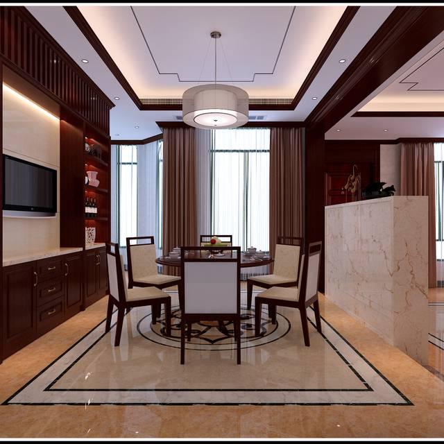 河姆渡別墅300㎡別墅中式風格裝修案例
