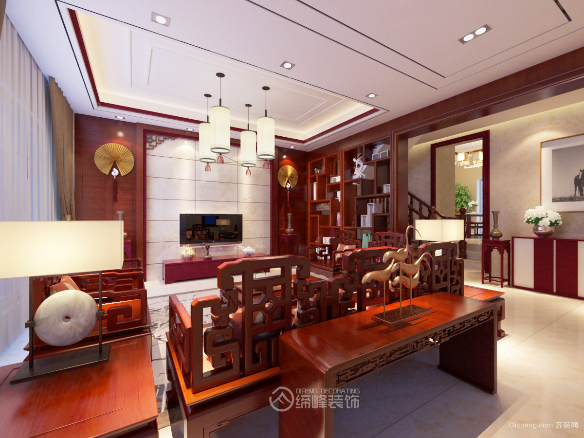 宁湖春天别墅6栋中式风格装修效果图实景图
