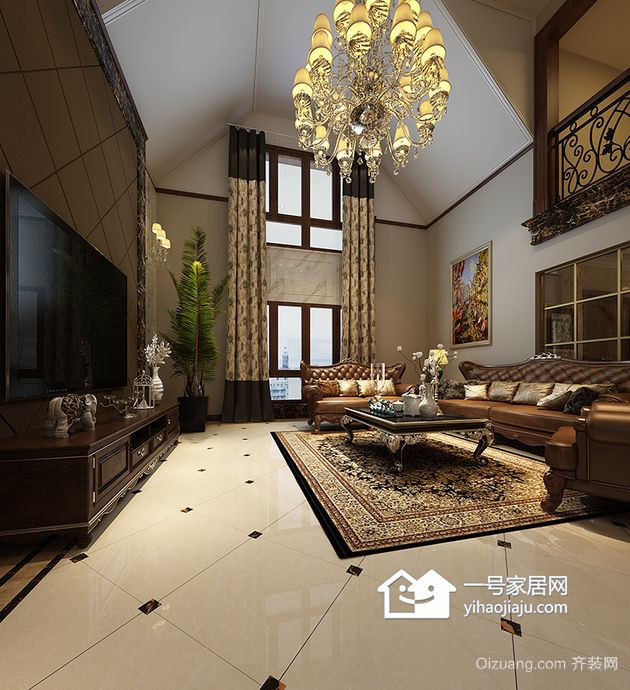 黄岛别墅欧式风格装修效果图实景图