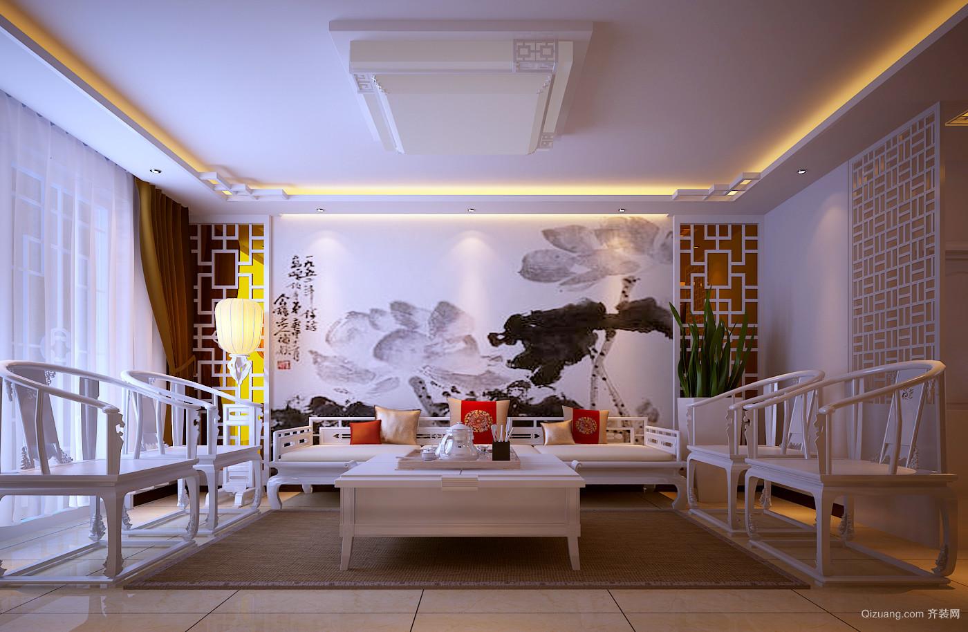 尚城华府小区中式风格装修效果图实景图