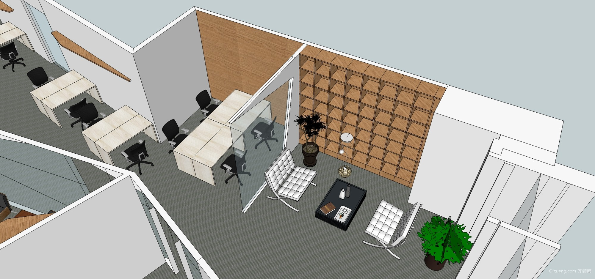 诺金 办公室 效果图 400平现代简约装修效果图实景图