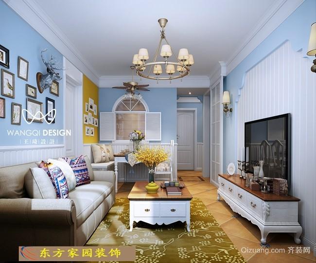 青岛明霞路小户型二手房美式风格装修效果图实景图