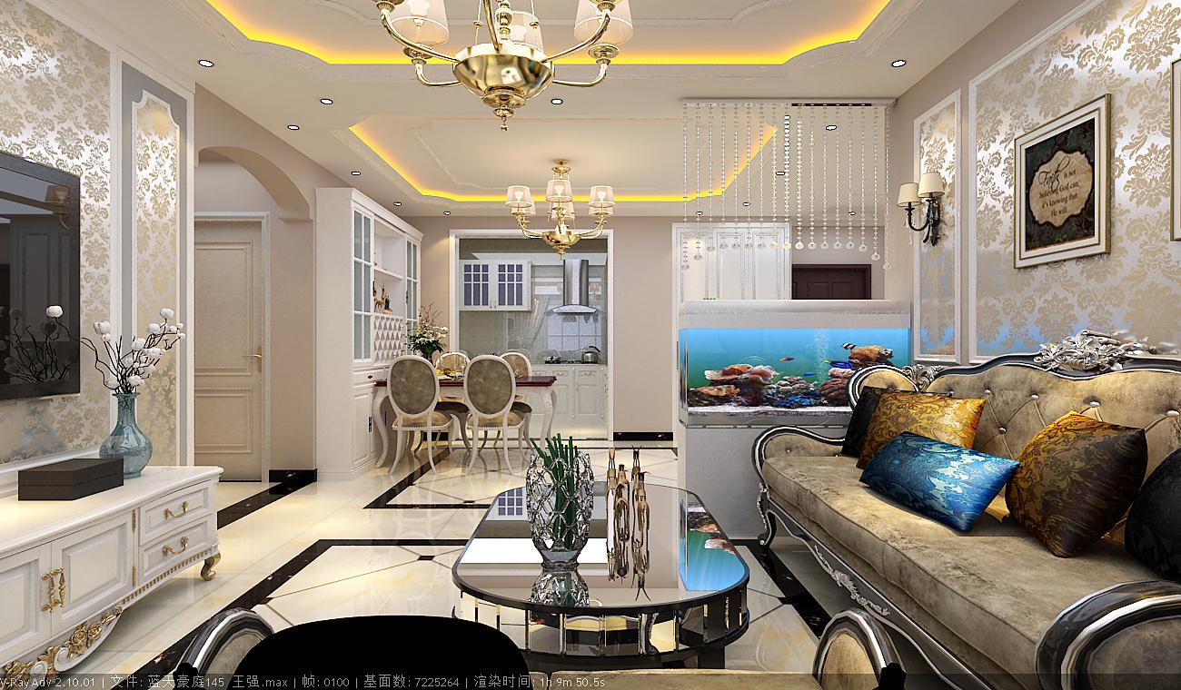 蓝天豪庭欧式风格装修效果图实景图
