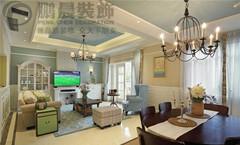 芜湖信德华府229平美式风格装修效果图案例