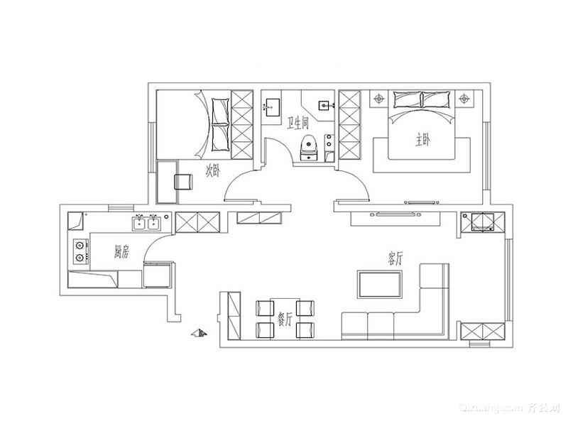 唐山橡树湾88平米精致而舒适现代简约装修效果图实景图