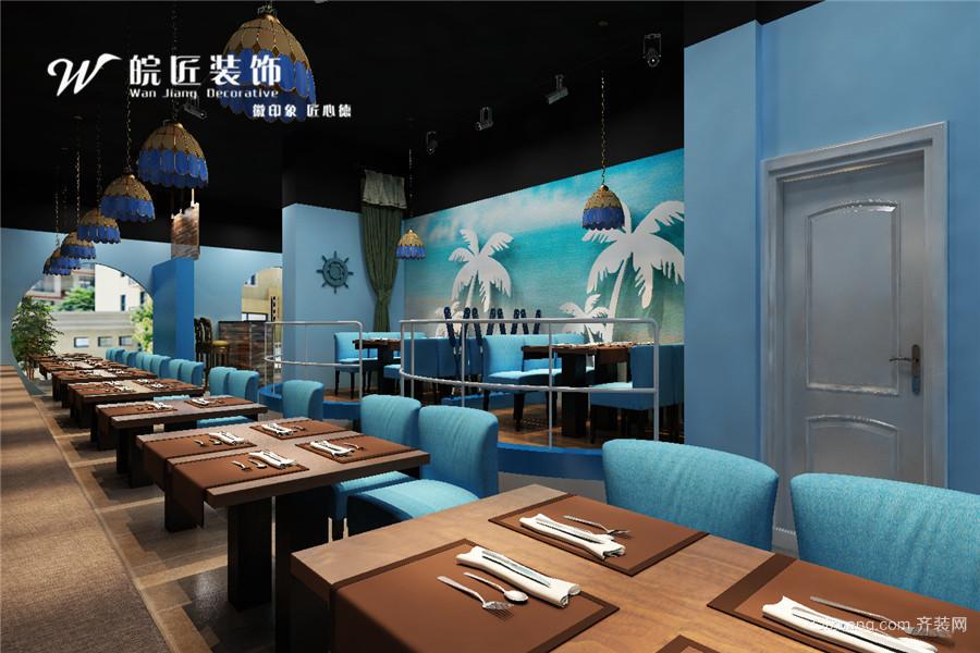 海鲜餐厅地中海风格装修效果图实景图
