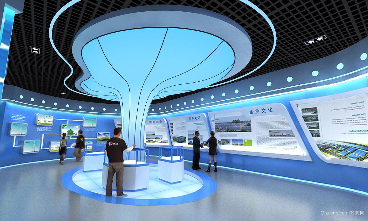 新能源公司展厅现代简约装修效果图实景图