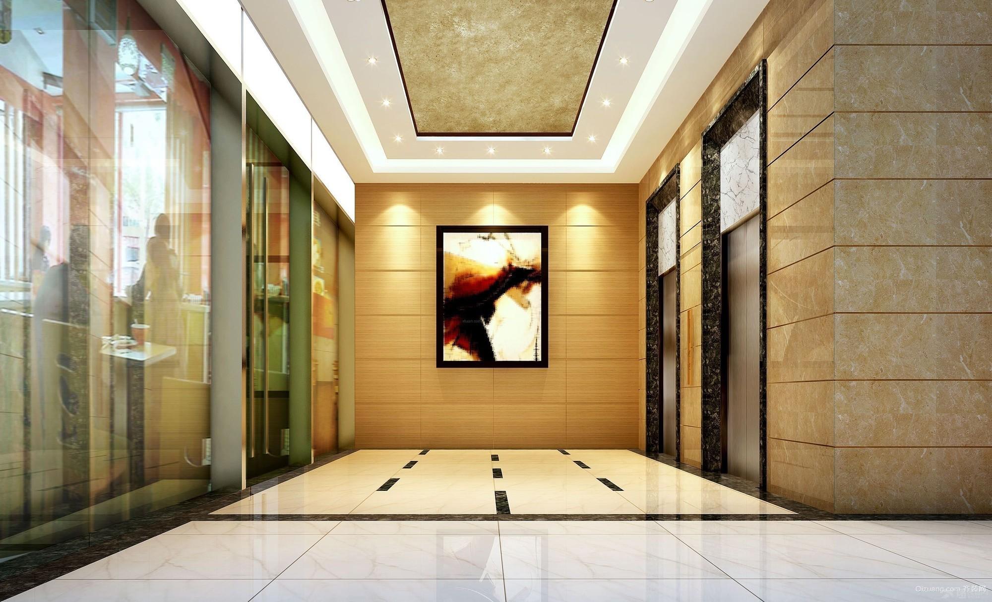龙源宾馆电梯大堂现代简约装修效果图实景图