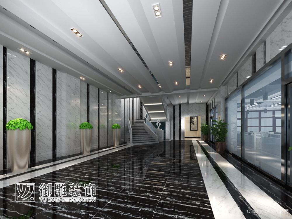 中山三角办公楼现代简约装修效果图实景图
