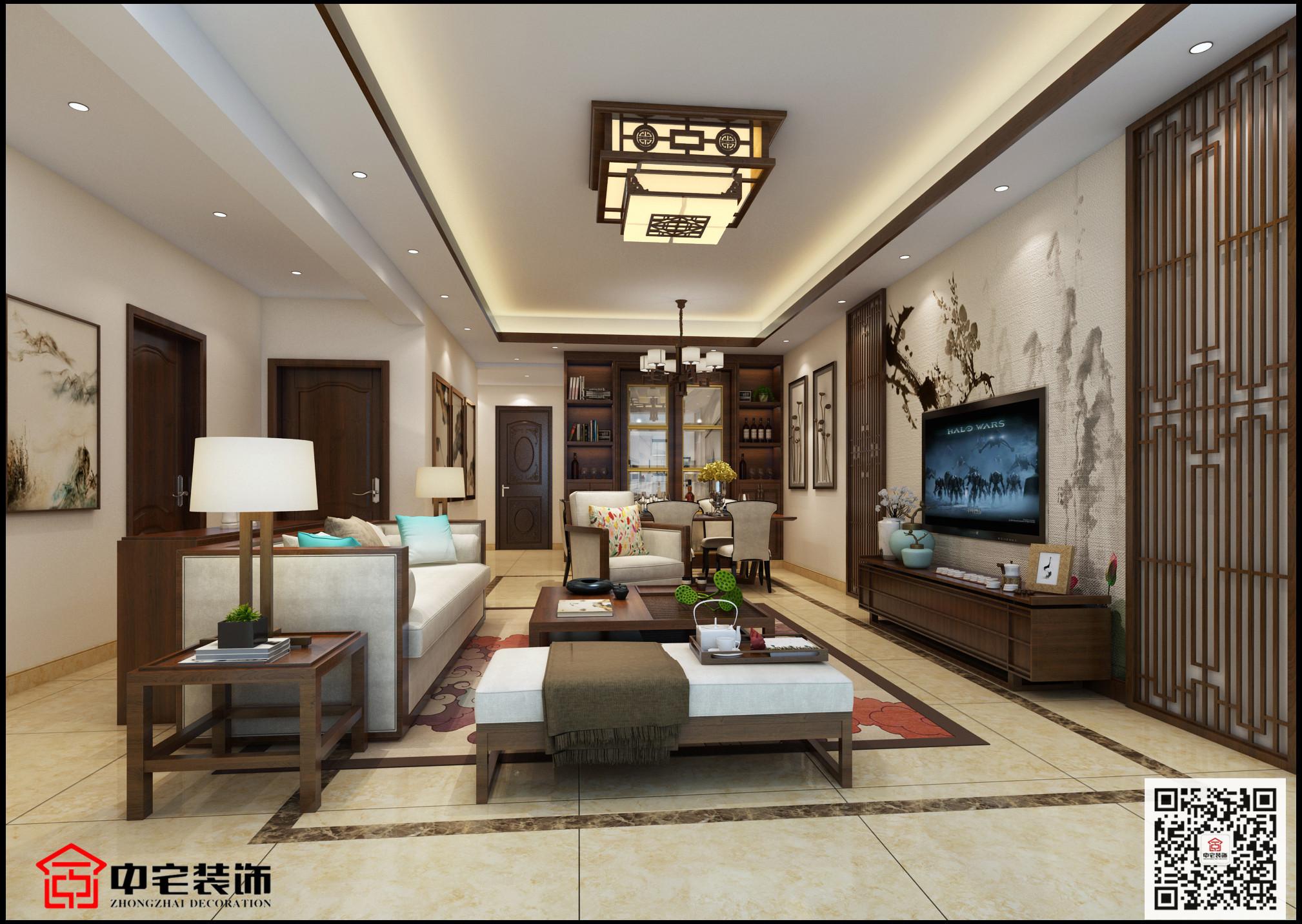 丽景江山 104㎡中式风格装修效果图实景图