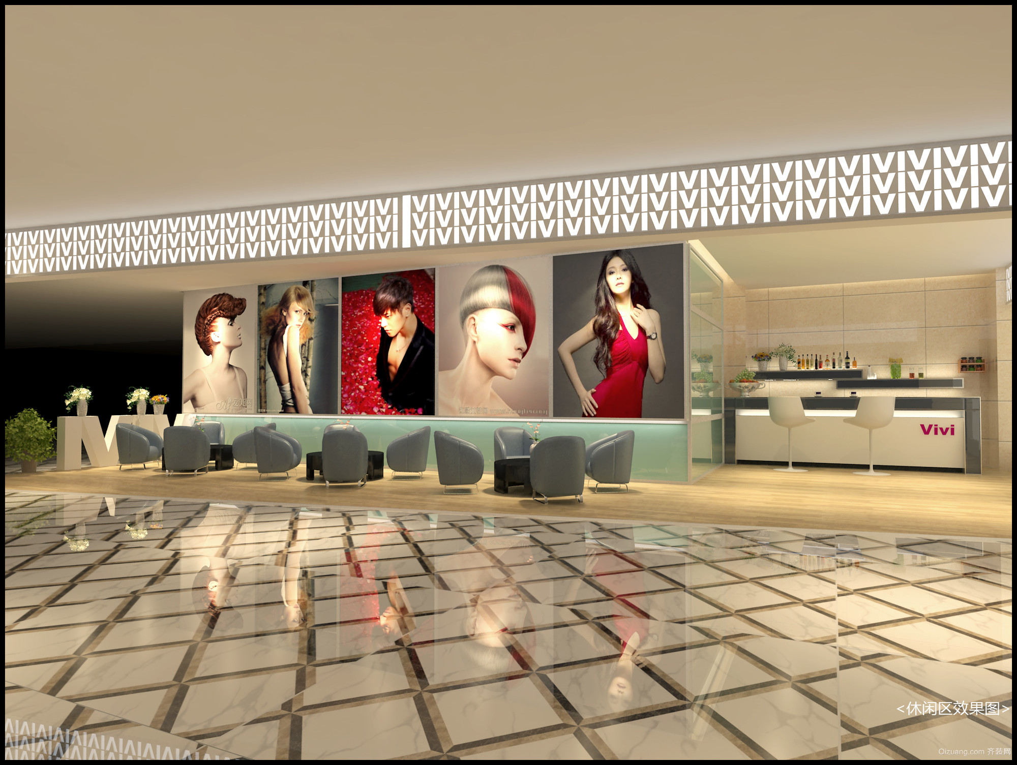 逸豪3楼ViVi发艺现代简约装修效果图实景图
