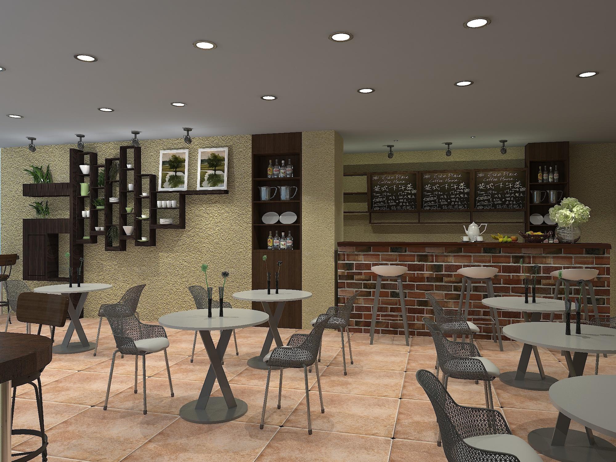 三亚湾咖啡厅古典风格装修效果图实景图