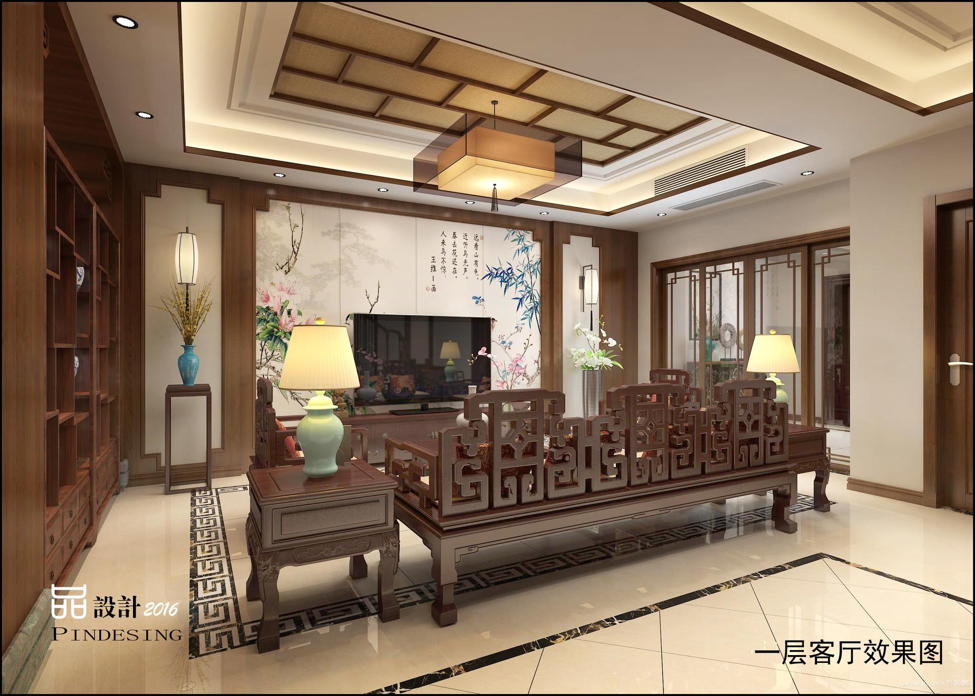 世茂香槟湖别墅中式风格装修效果图实景图