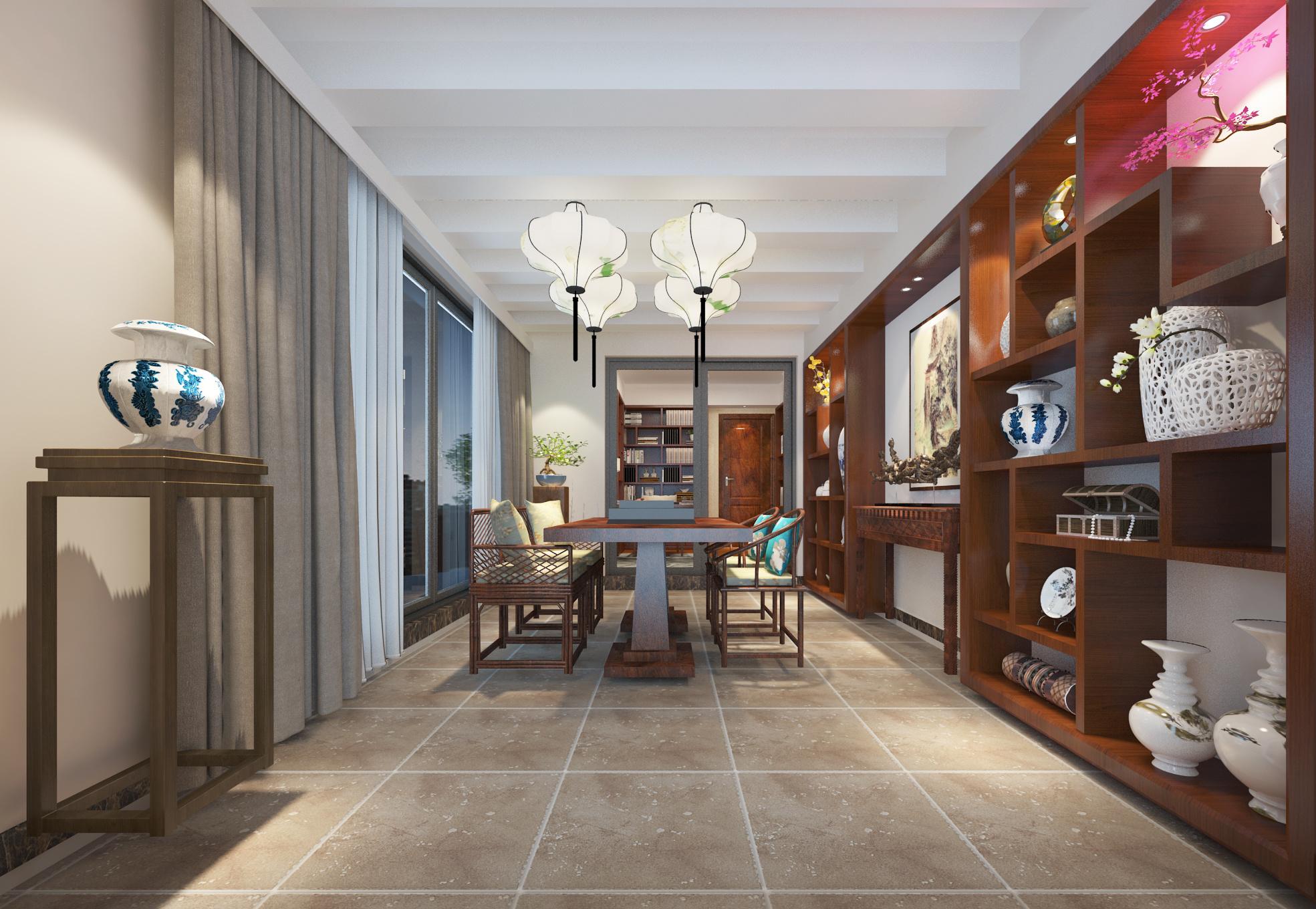 海伦堡藏峰墅29栋303叠院中式风格装修效果图实景图