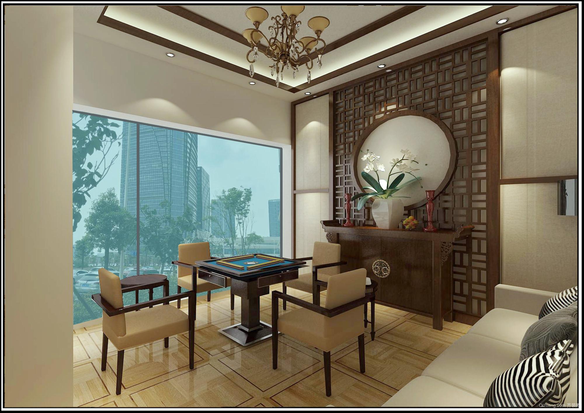 万达广场H公寓茶室中式风格装修效果图实景图