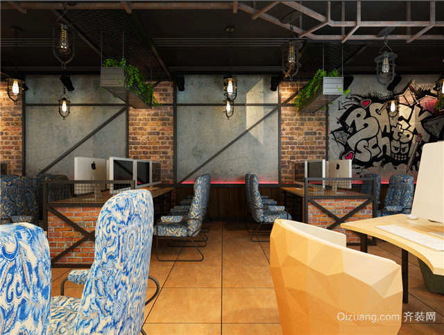 烽火网吧欧式风格装修效果图实景图