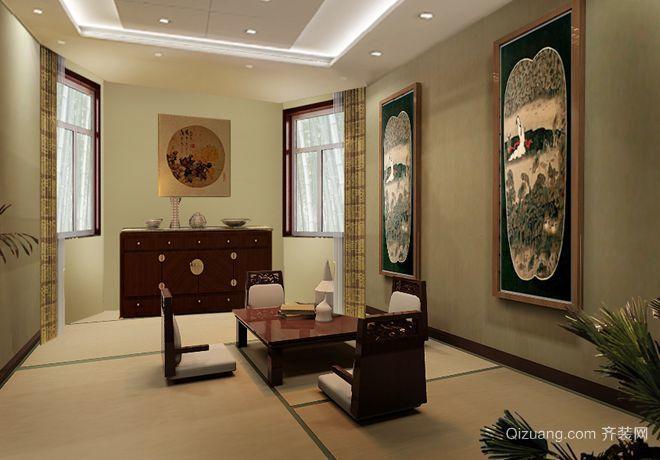 寿光城建别墅中式风格装修效果图实景图