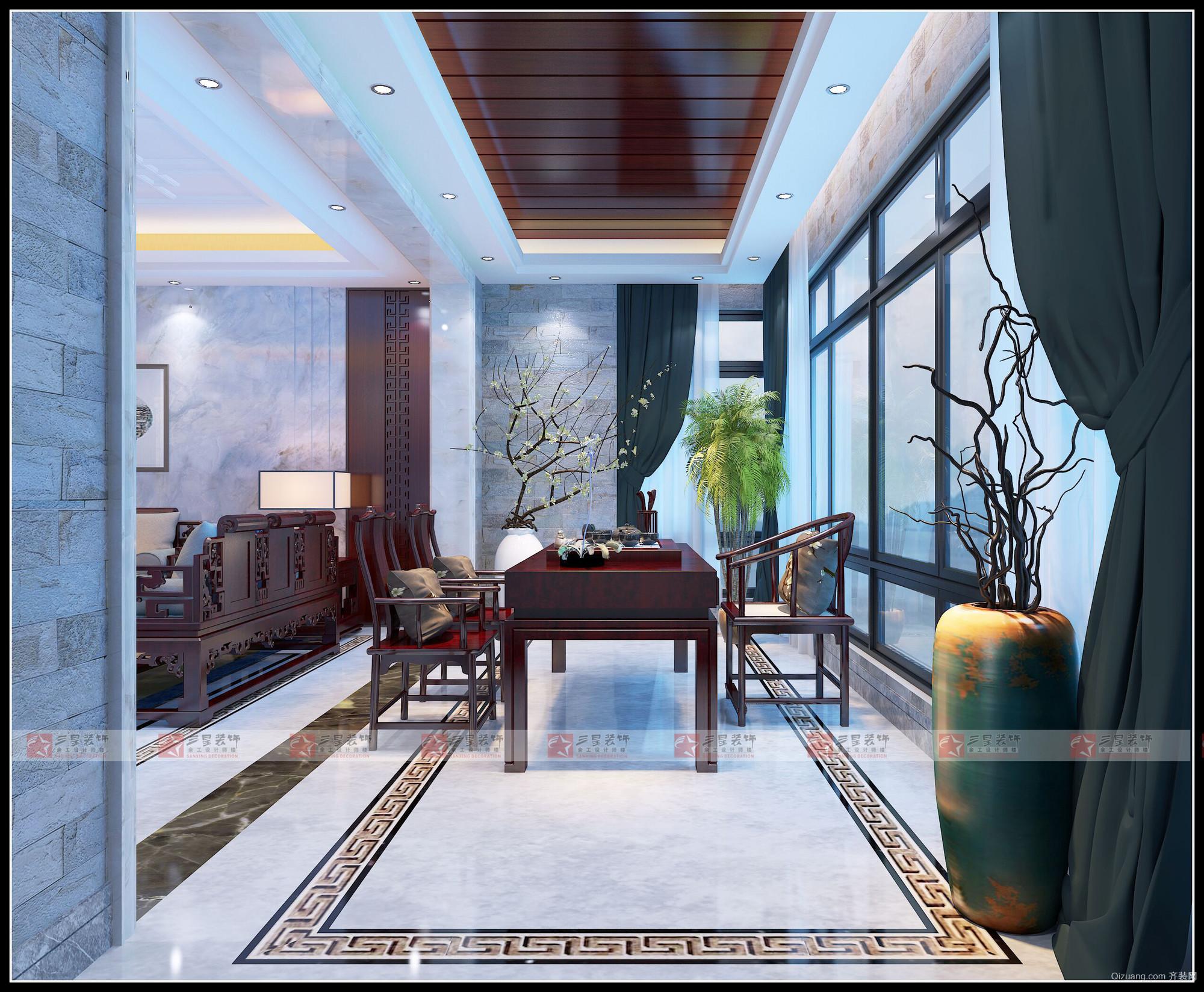 龙宝花园中式风格装修效果图实景图