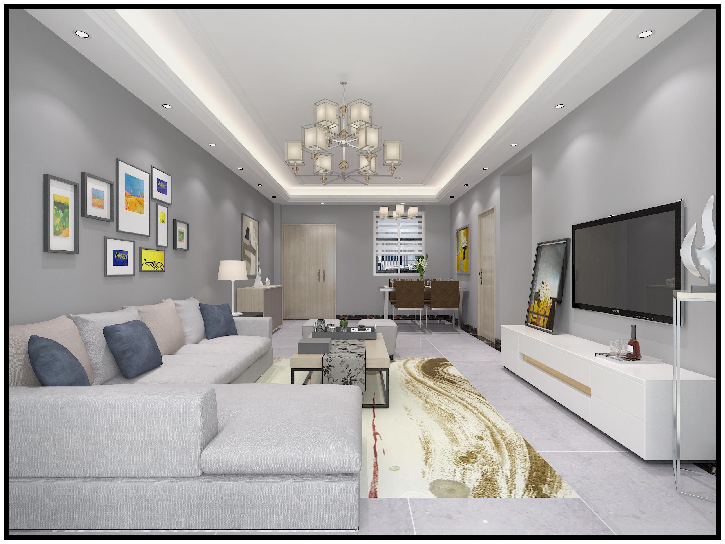 金凤凰海景公寓现代简约装修效果图实景图