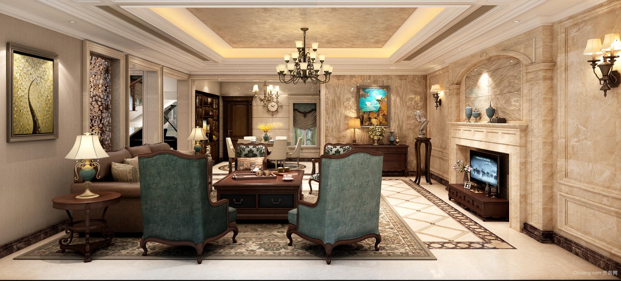 扬中自建别墅美式风格装修效果图实景图