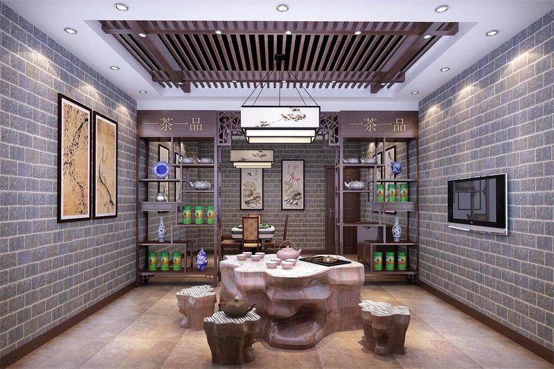 坪山花园城商铺中式风格装修效果图实景图