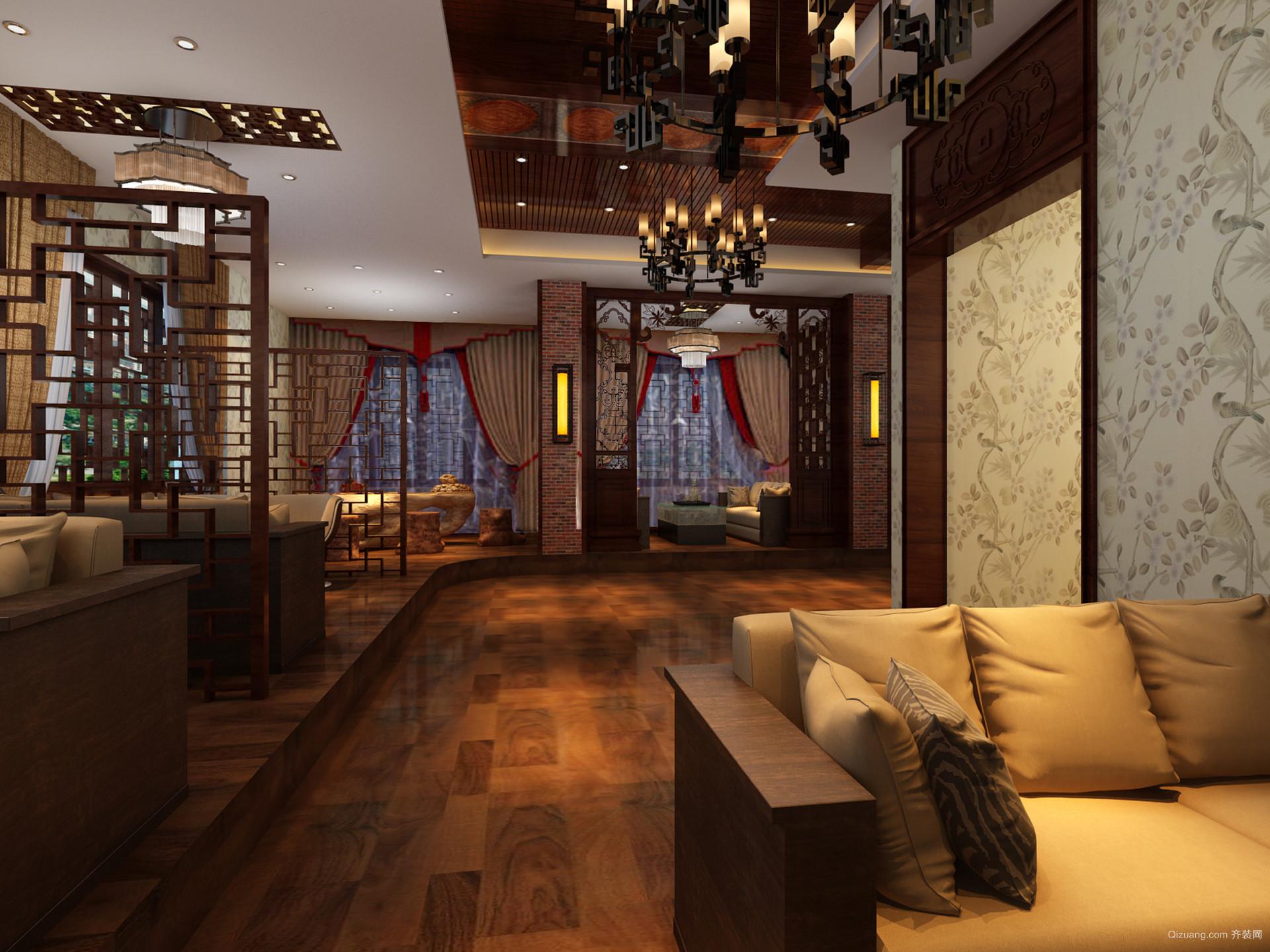 湖南会馆中式风格装修效果图实景图
