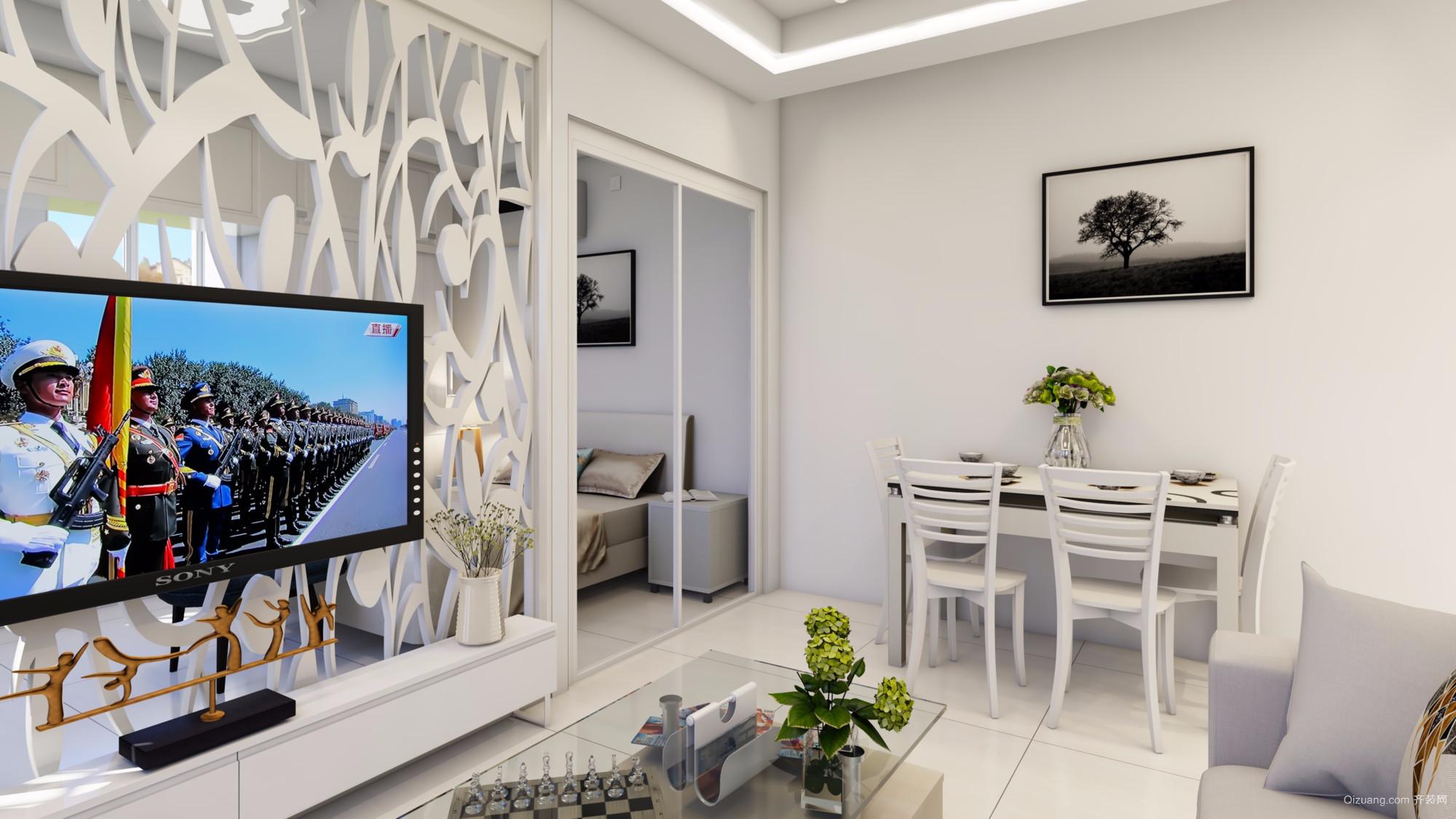 河畔花城单身公寓现代简约装修效果图实景图