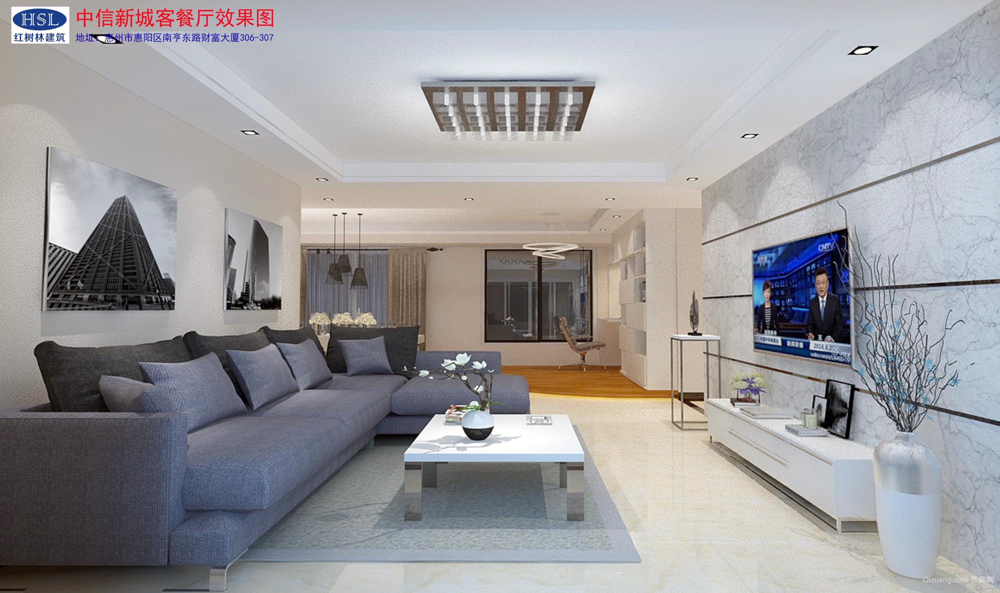 中信新城C10-B-1404中式风格装修效果图实景图