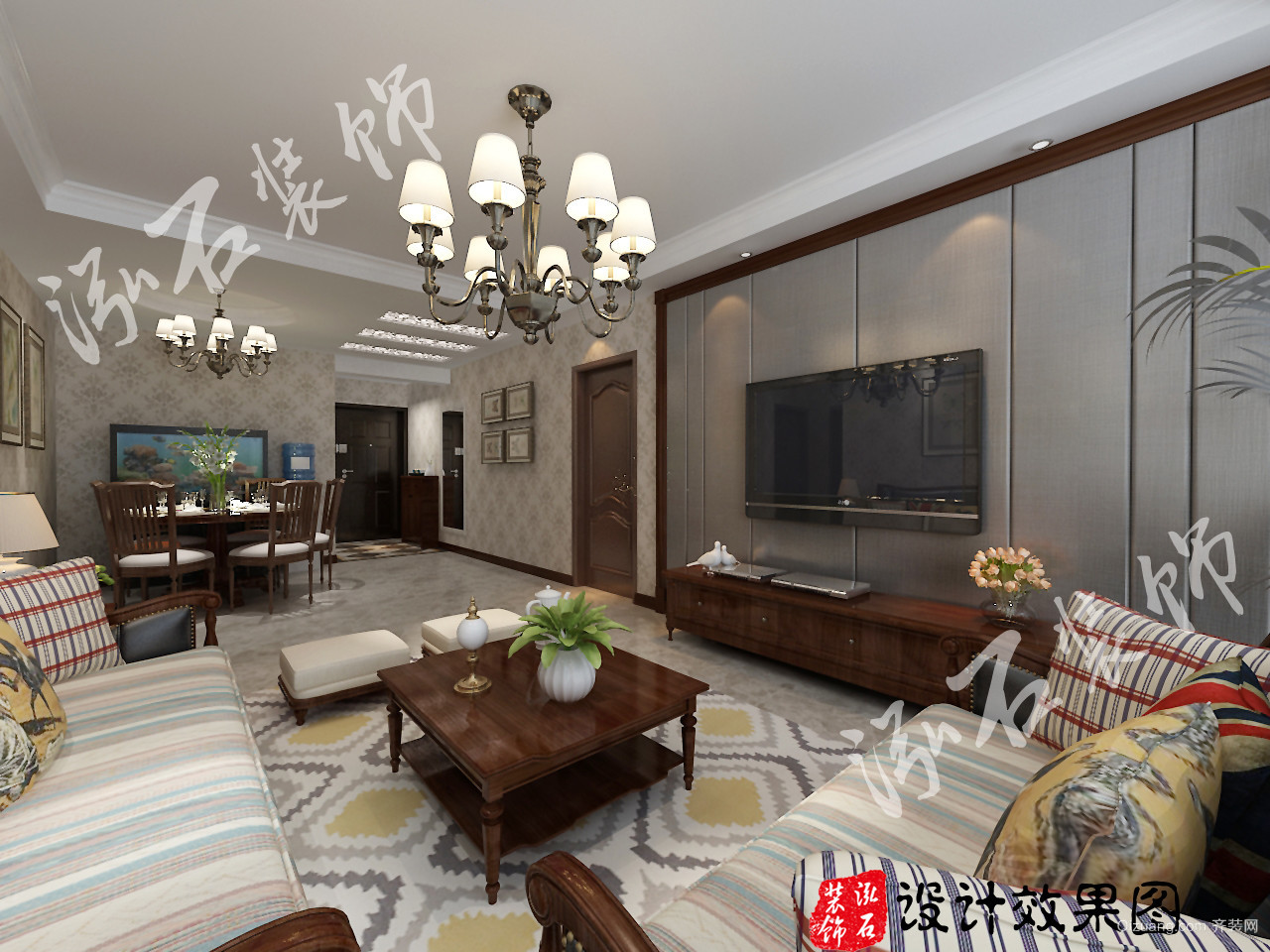 K2·京南狮子城美式风格装修效果图实景图