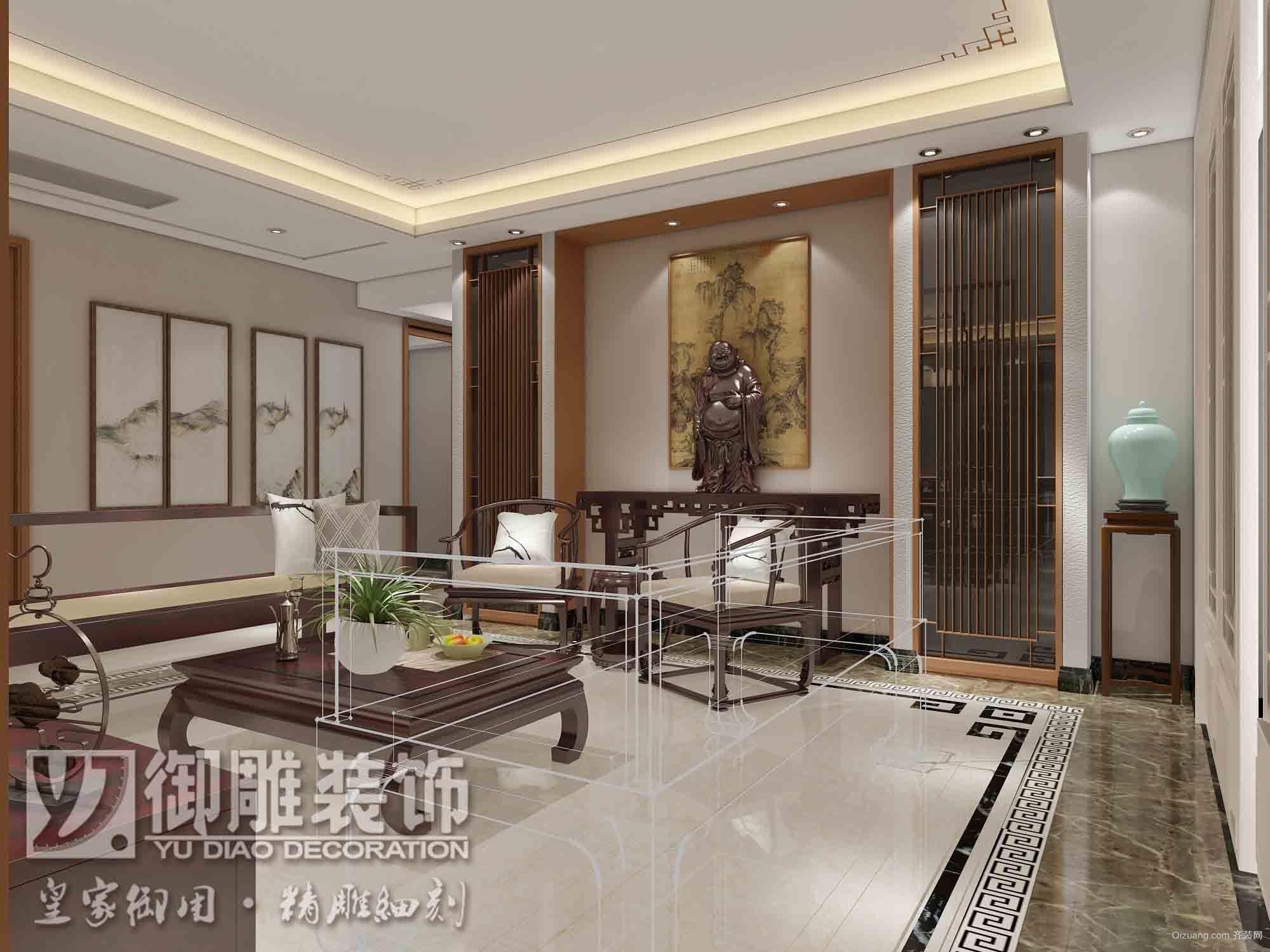 万科金域滨江9座02户型中式风格装修效果图实景图