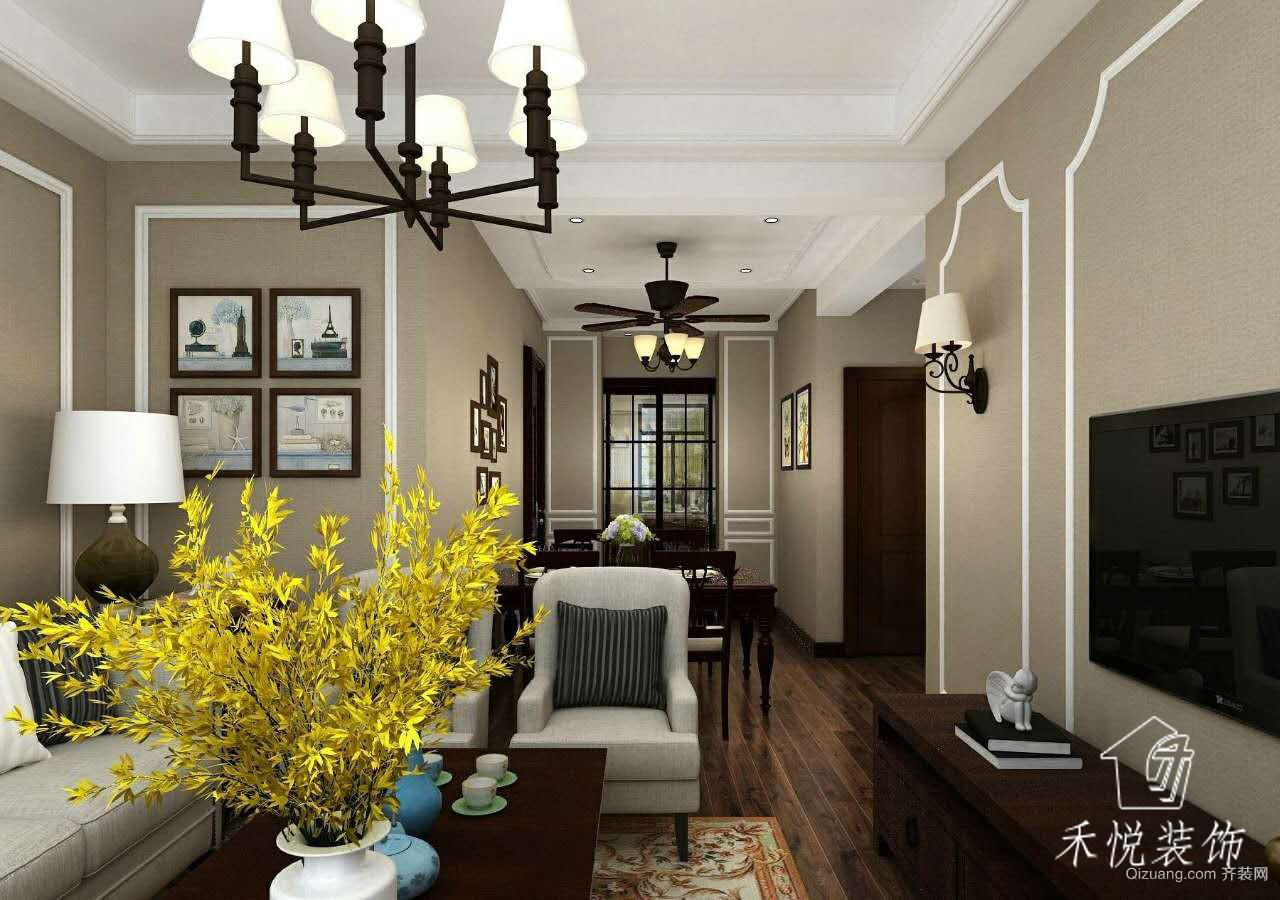 竹海小区美式风格装修效果图实景图
