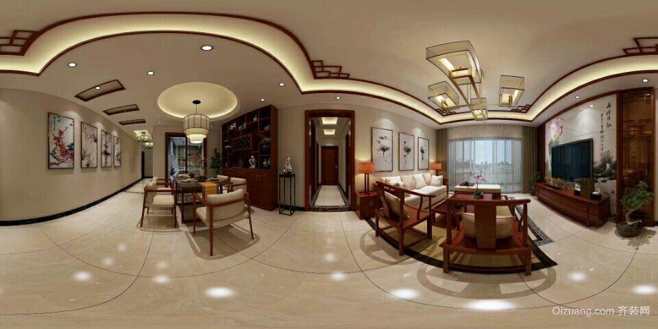 朝南·维港半岛中式风格装修效果图实景图