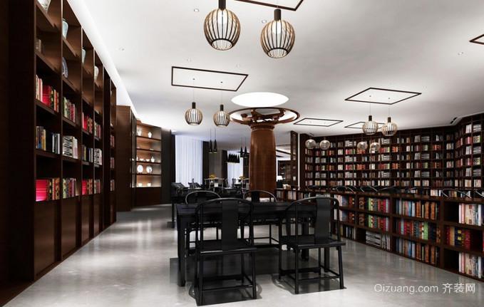 中式书屋现代简约装修效果图实景图