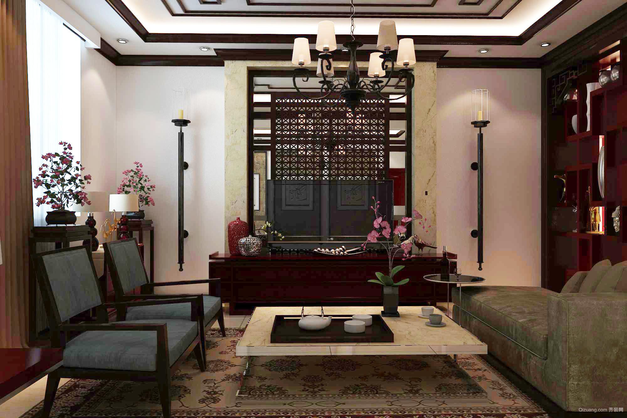 曲寨别墅中式风格装修效果图实景图
