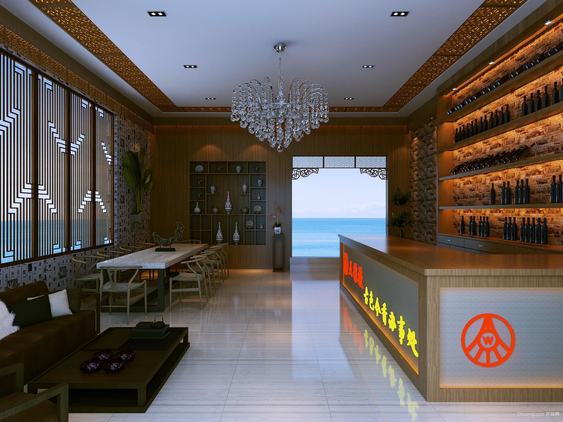 某酒业办事处中式风格装修效果图实景图