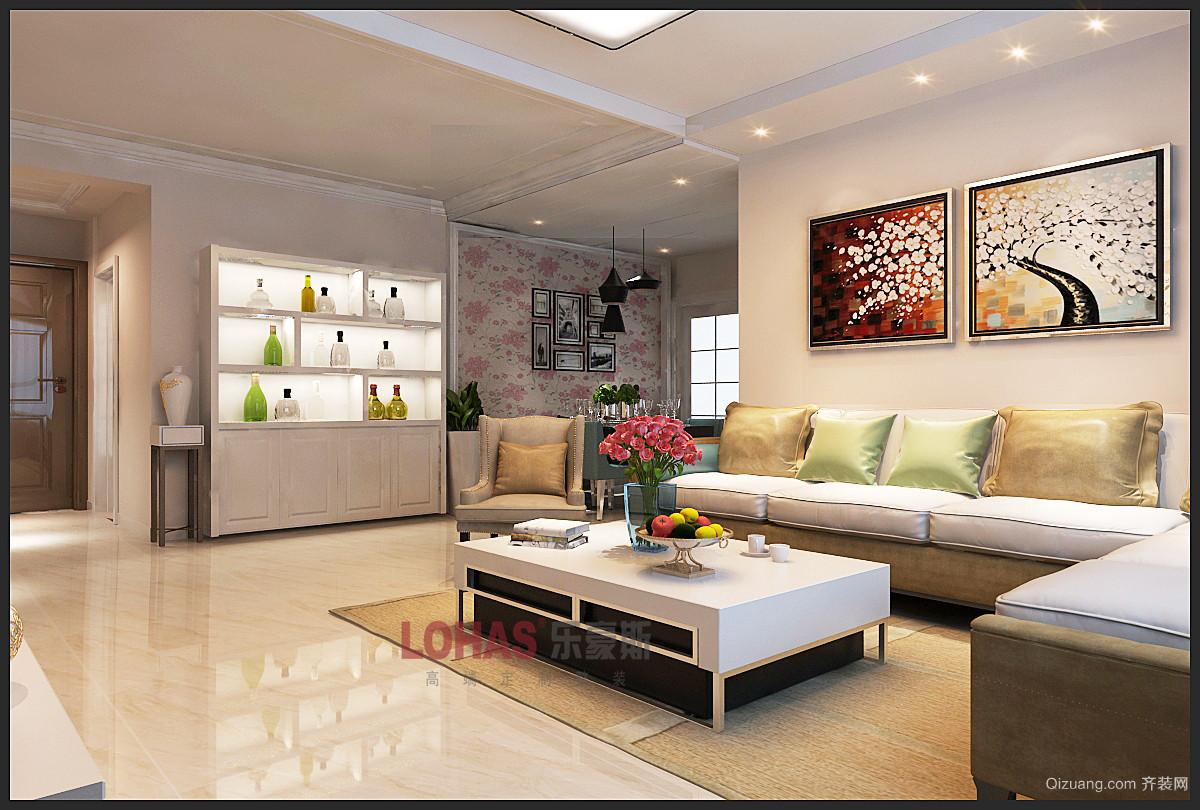 明信鹭湾132平米简美风格三居室现代简约装修效果图实景图