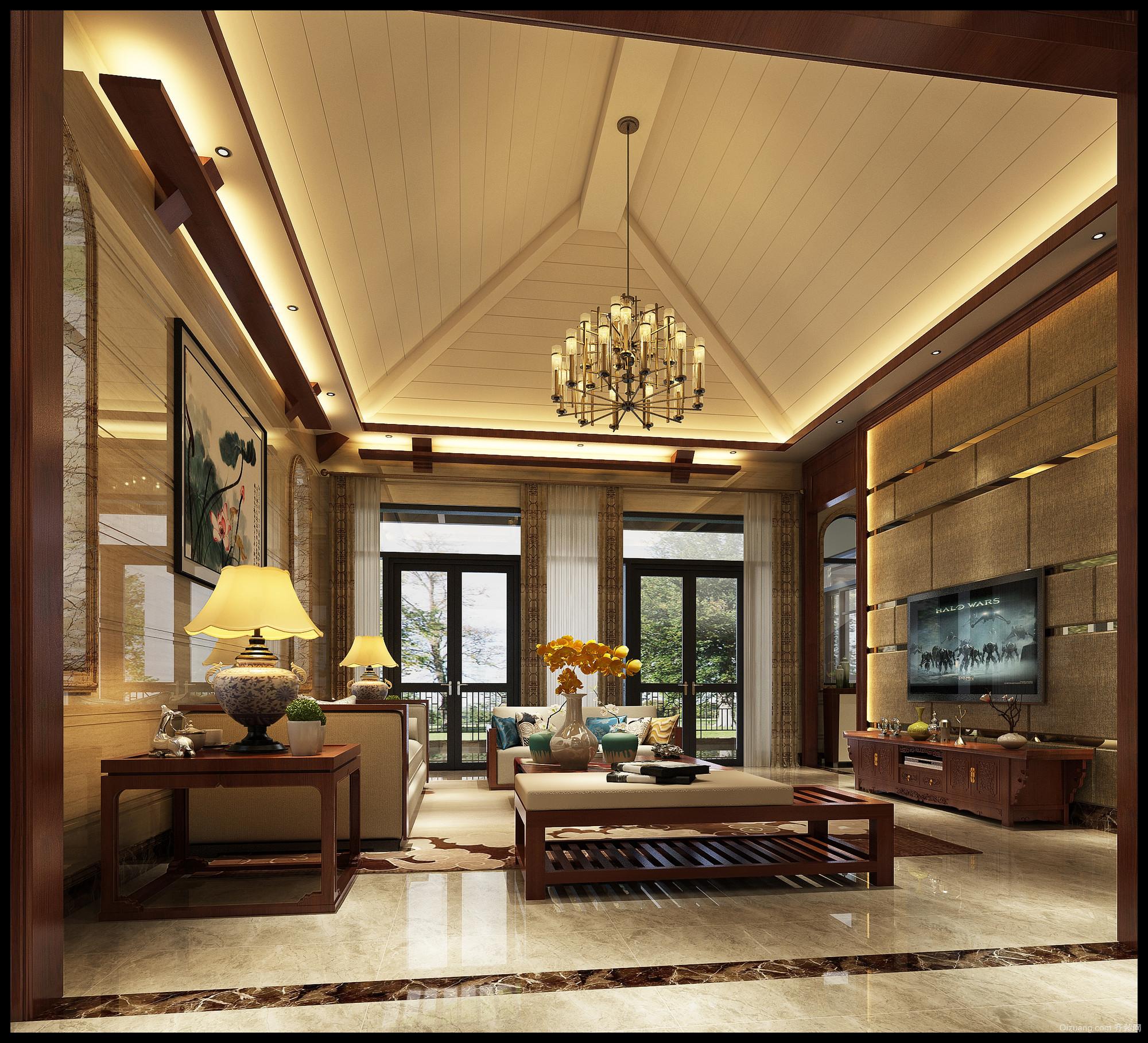 广佛新世界庄园中式风格装修效果图实景图