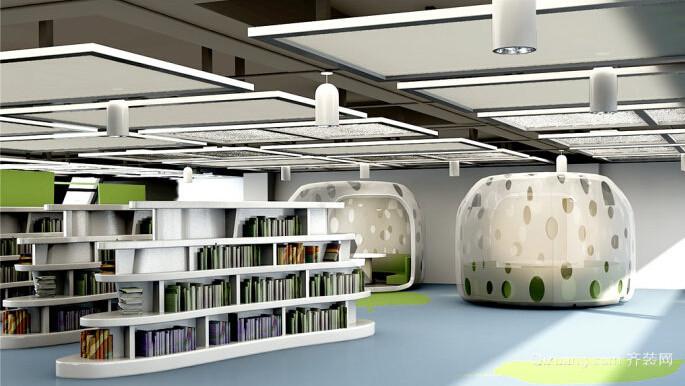 学生图书馆设计现代简约装修效果图实景图