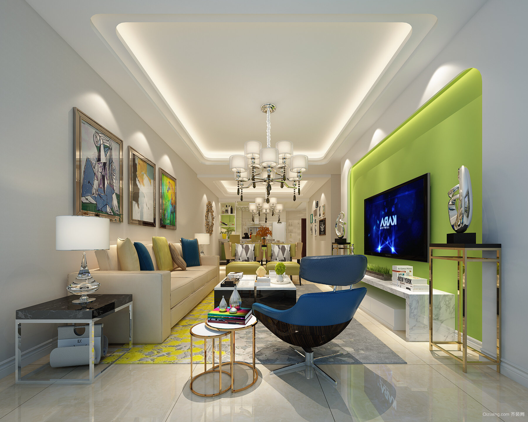 滨江园·高层公寓现代简约装修效果图实景图