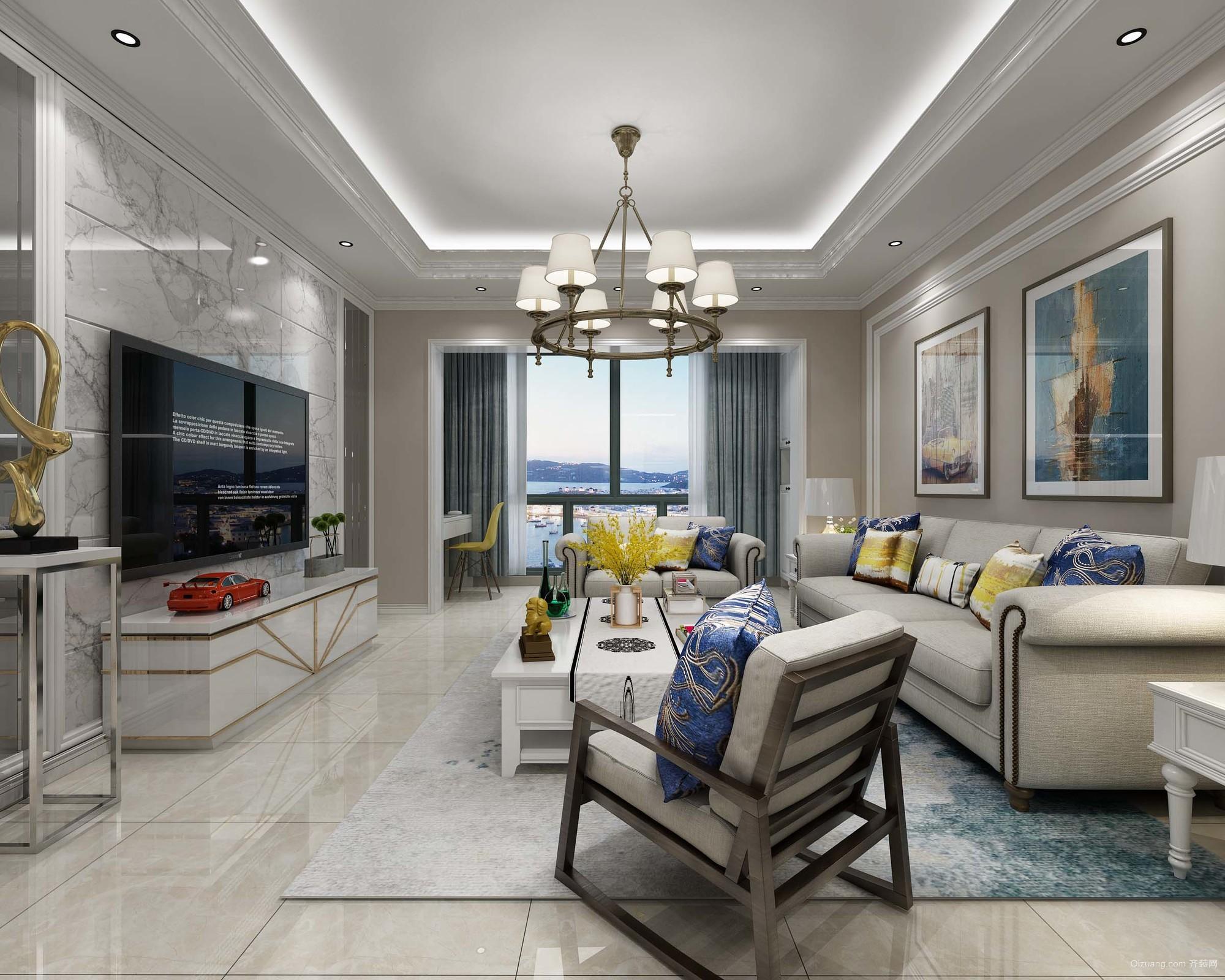 升龙城9号院美式风格装修效果图实景图