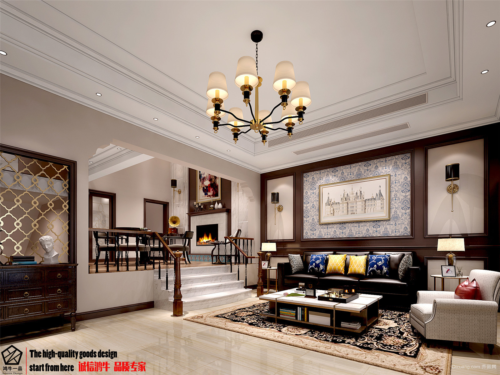 清怡嘉苑美式风格装修效果图实景图