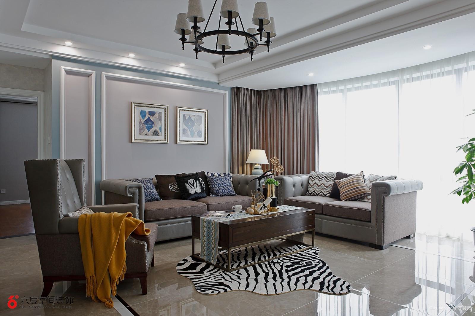 [六度空间装饰]蓝鼎海棠湾美式风格装修效果图实景图