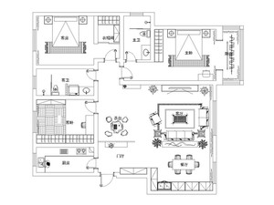 石家庄168㎡中式风格装修效果图