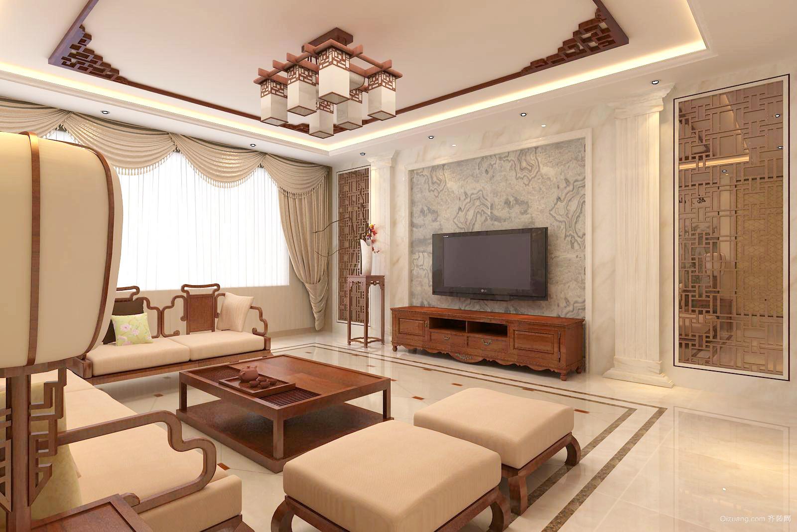鹤伴豪庭中式风格装修效果图实景图