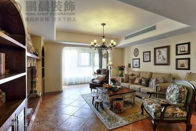 芜湖中央城120平美式装修效果图装修设计案例