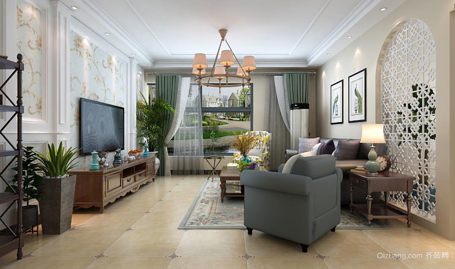 新建苑美式风格装修效果图实景图