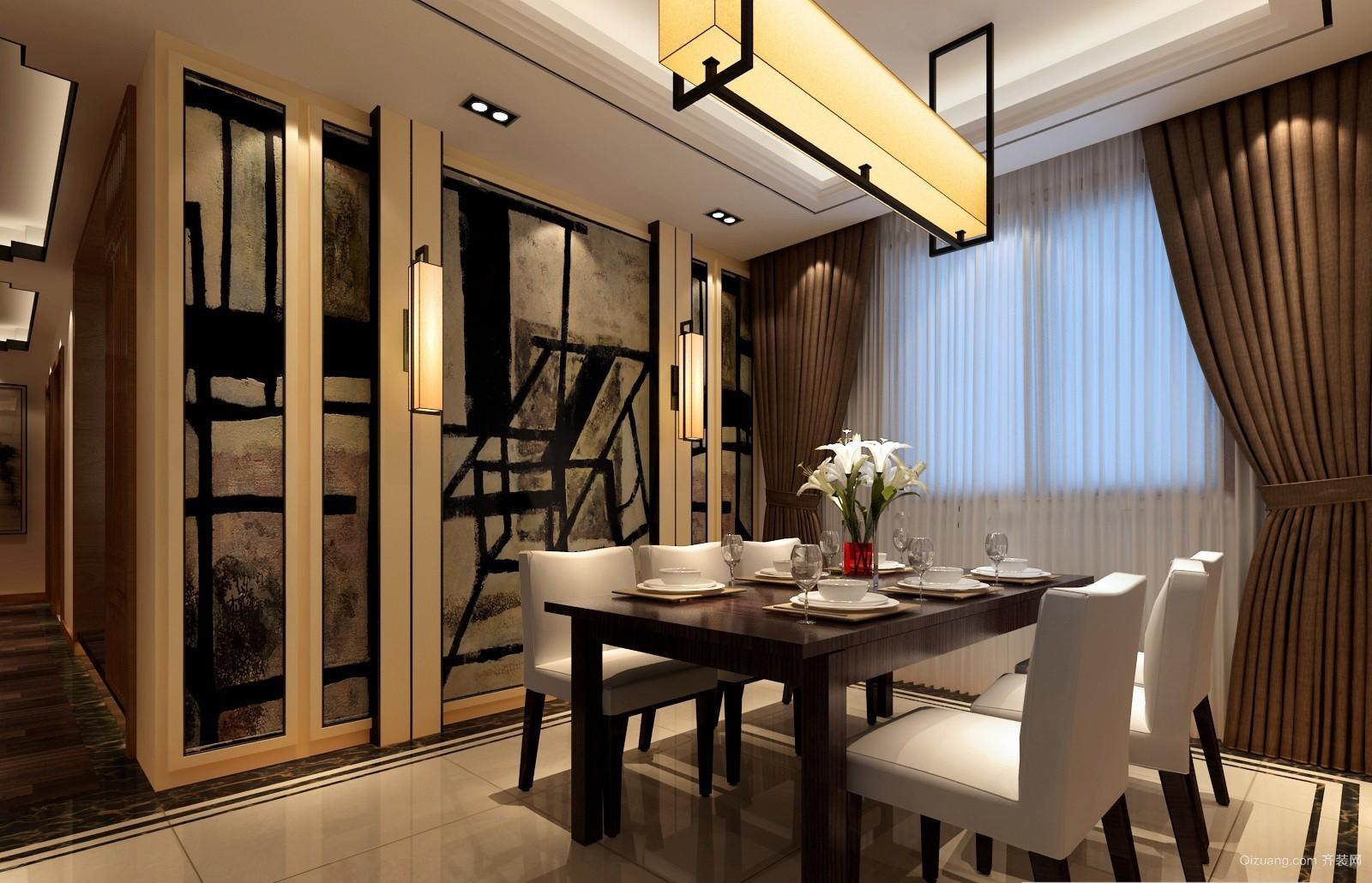 江宇天府城中式风格装修效果图实景图