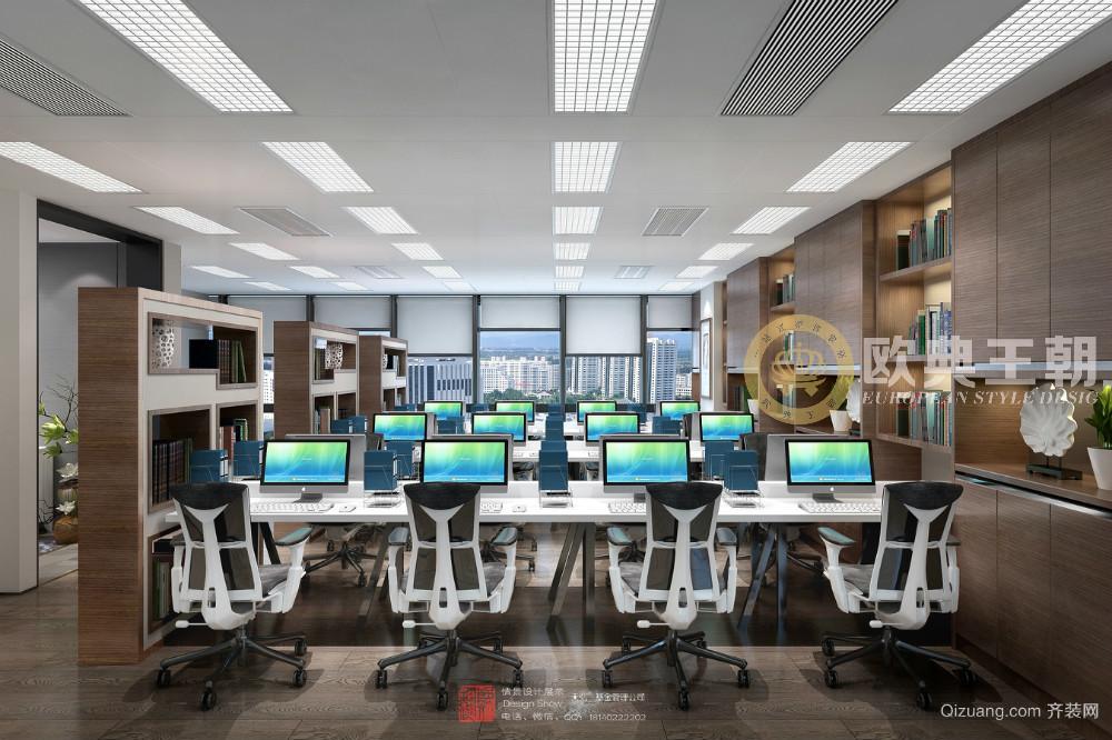 成都天弘基金办公室现代简约装修效果图实景图