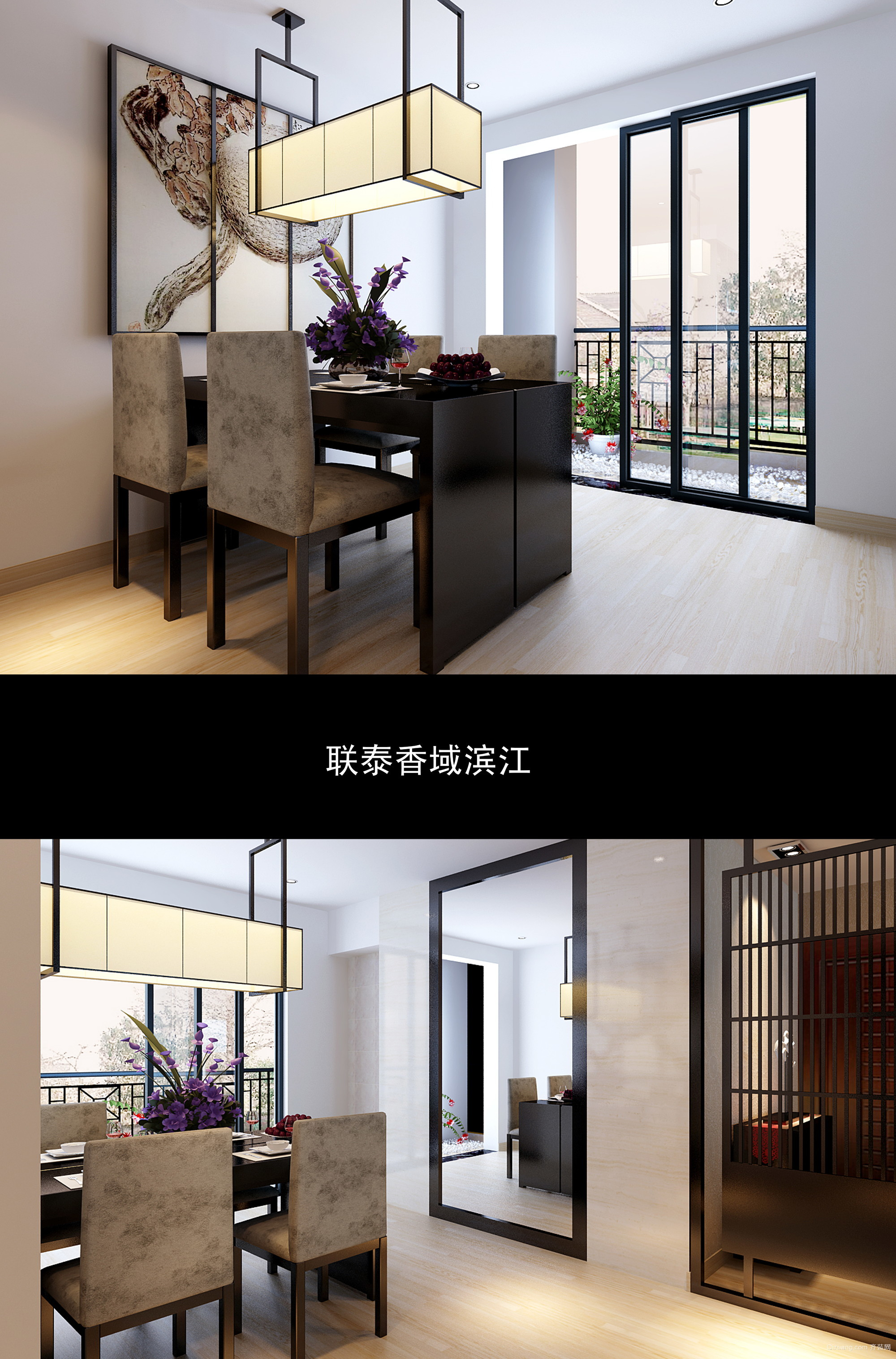 联泰香域滨江中式风格装修效果图实景图